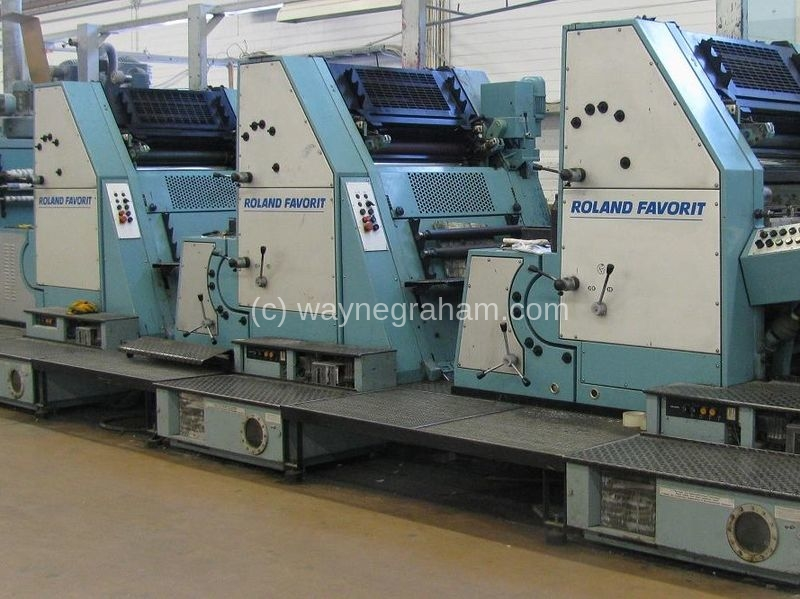 Image of Used Roland Favorit RFFOB+L Five Colour Printing Press With Coating Unit
