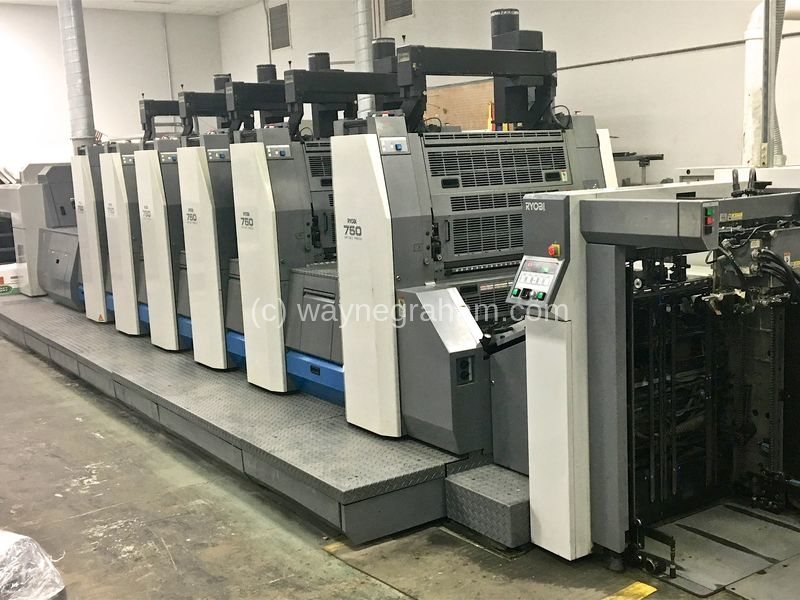 Image of Used Ryobi 755 XL-D Five Colour Printing Press With Coating Unit For Sale